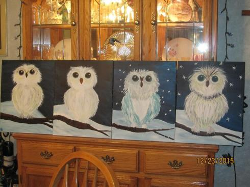 our owls--mine, Cools, Dad, Mom